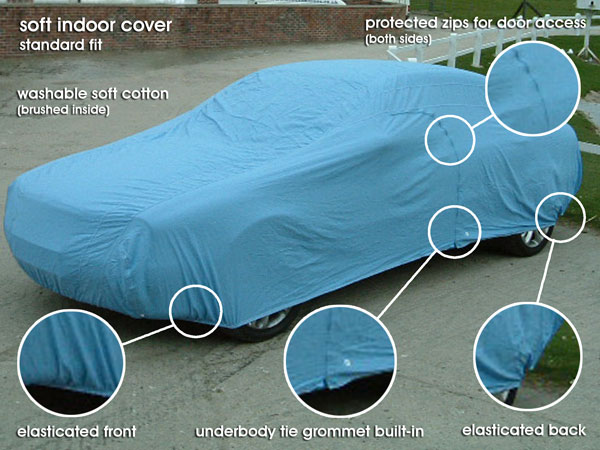 Soft Indoor Poly-Cotton Breathable Full Car Cover-In Blue Size-AA